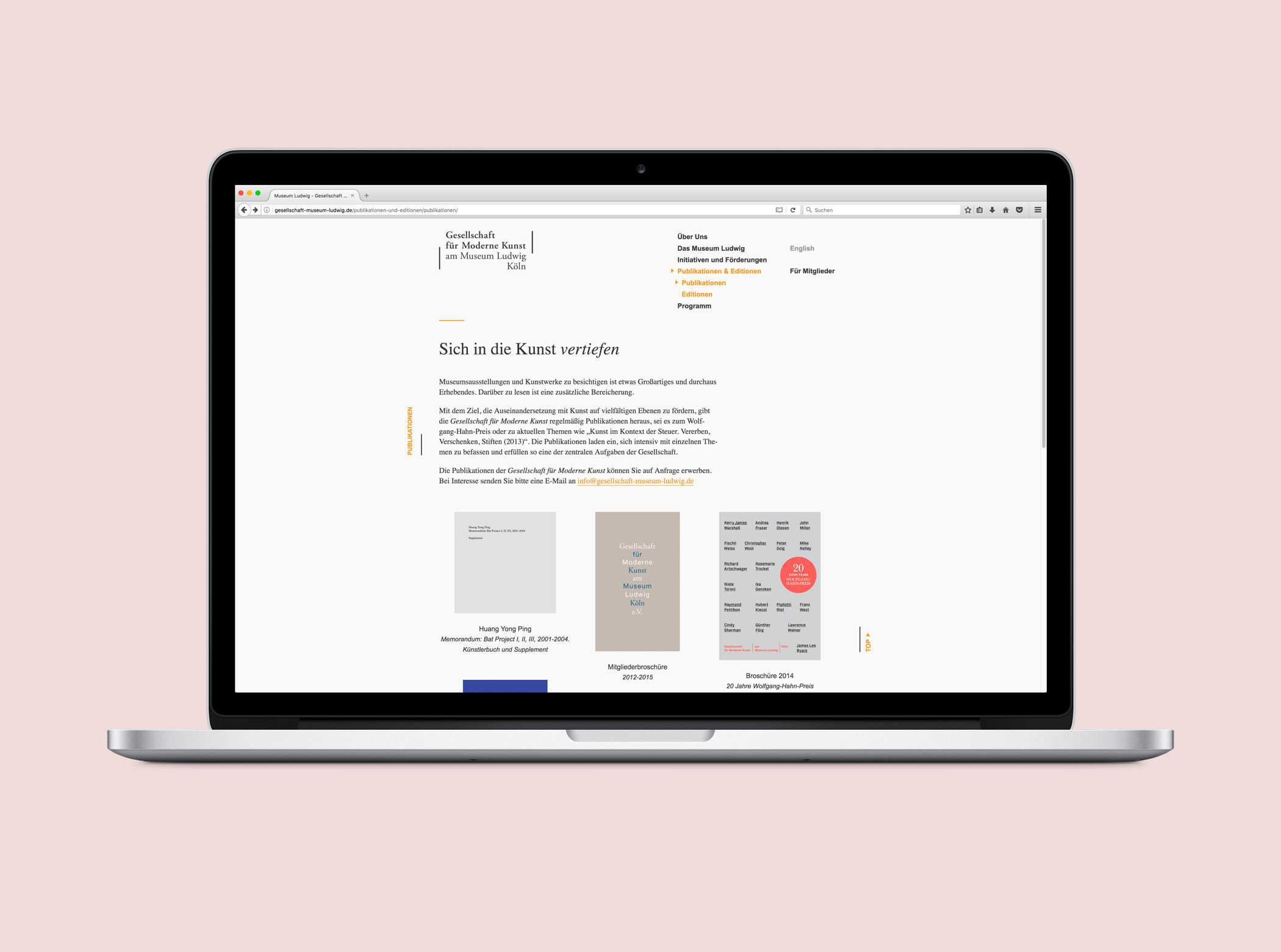 Gesellschaft für Moderne Kunst Köln Website