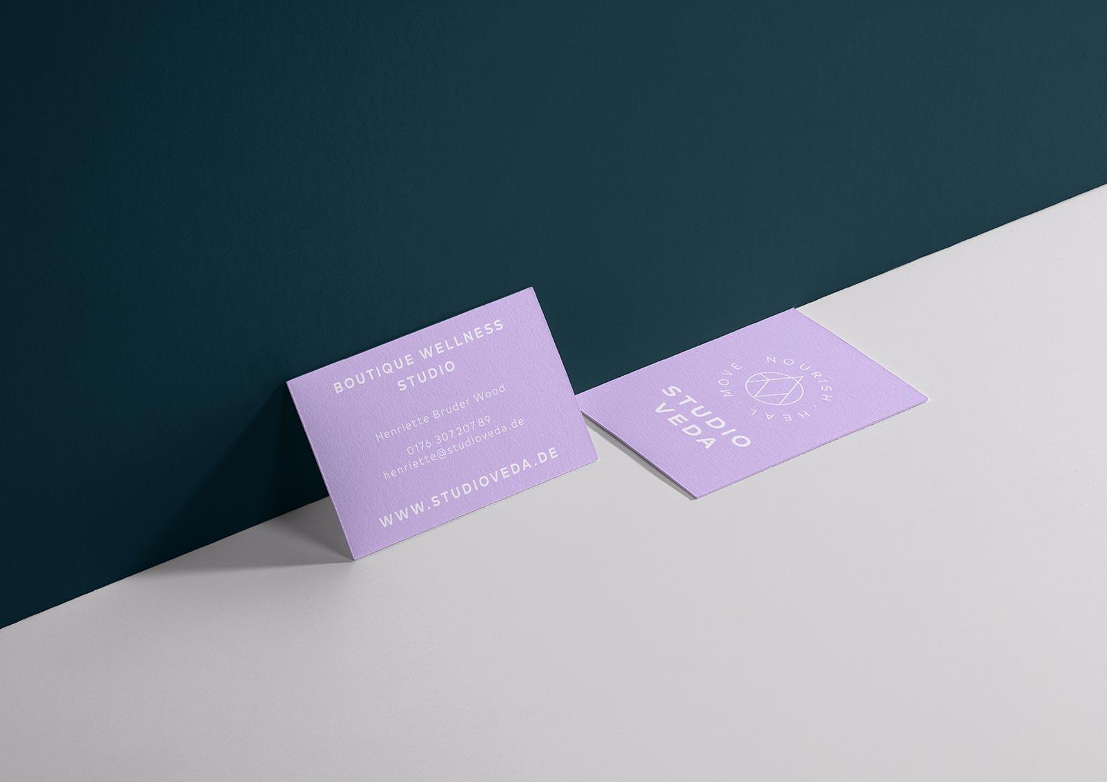 Barre und Yoga STUDIO VEDA Visitenkarten