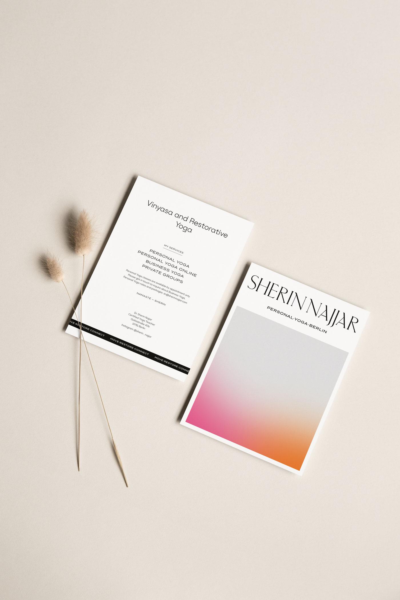 Sherin Najjar Personal Yoga – Yogalehrerin Berlin – Flyer Design by Mindt