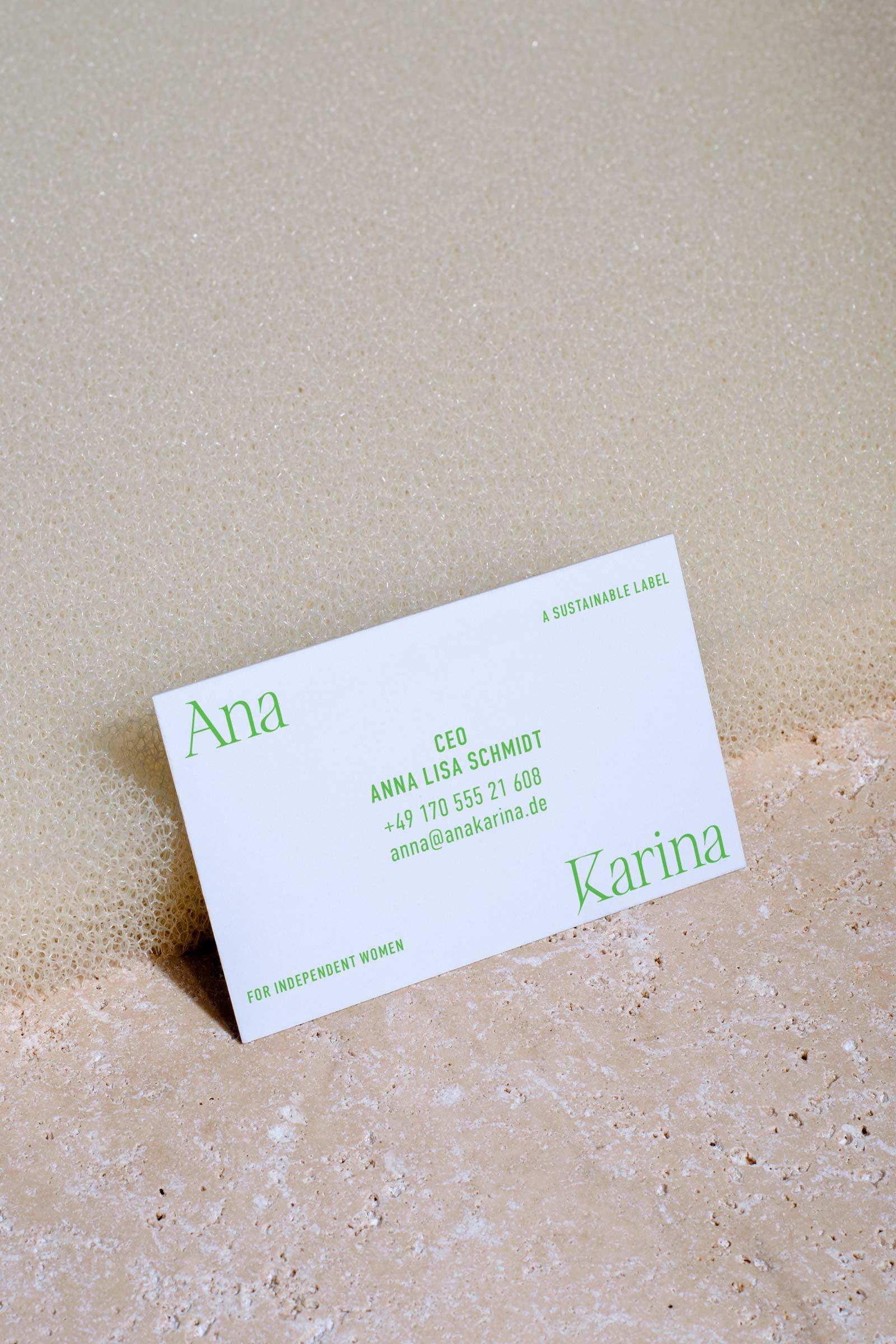 Ana Karina Sustainable Fashion Brand Kit – Business Card / Visitenkarte