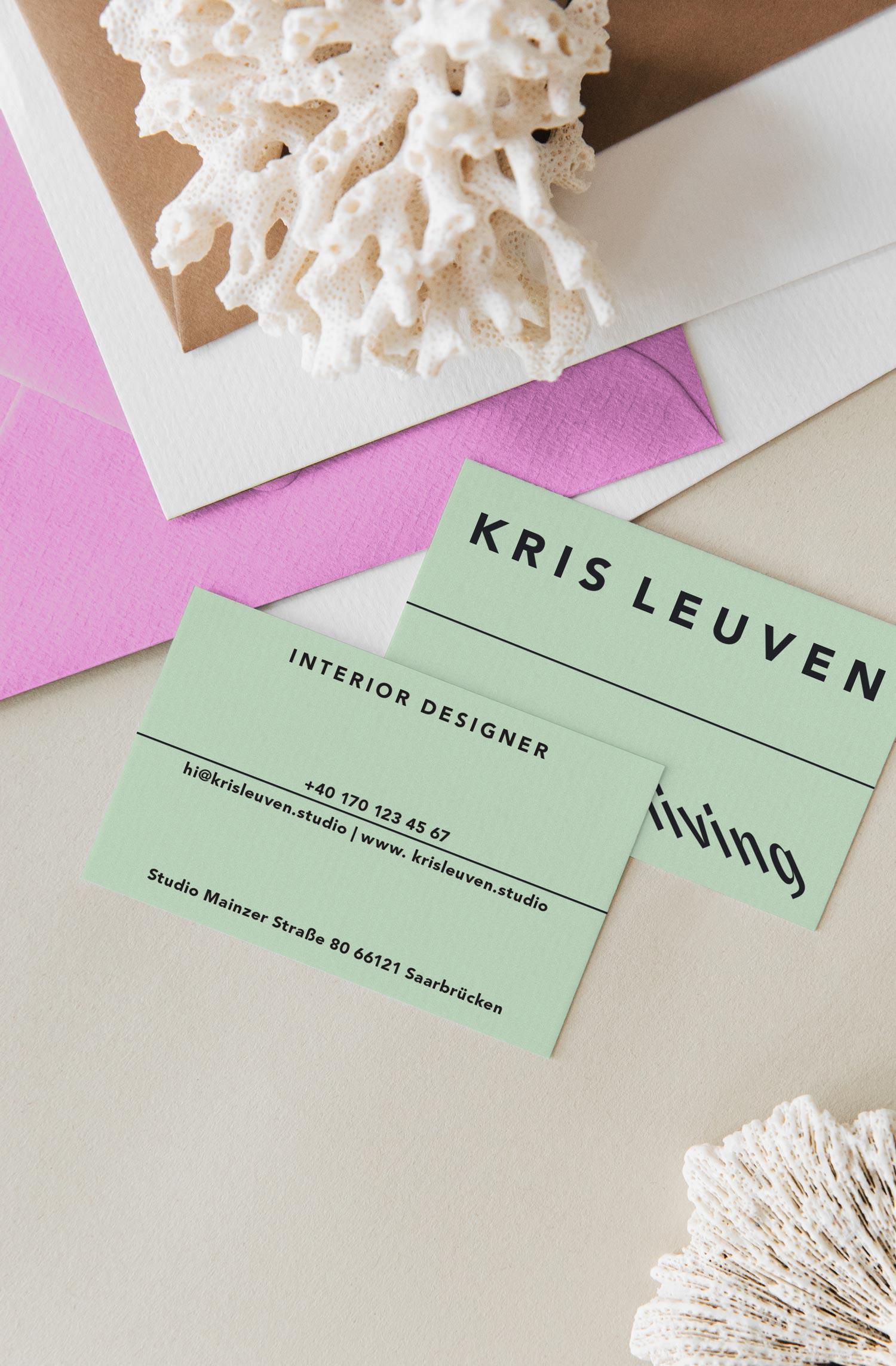 Kris Leuven Interior Designer Branding + Business Card Print Design